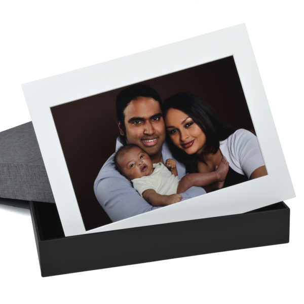 Slate grey linen texture portrait box with art mount